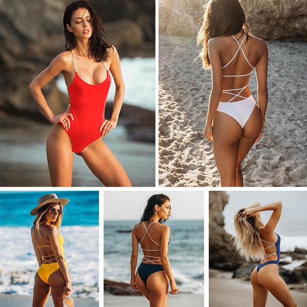 Kadınlar Bikini One Piece Katı çizgili halter backless Mayo seksi örgü Bandaj Üçgen Mayo yüksek bel Mayo Bayanlar bikini