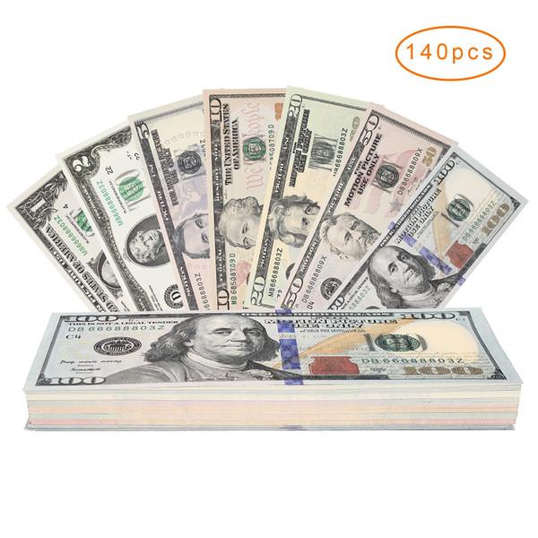 140pcs Prop Money Ensemble complet de 1 $, 2 $, 5 $, 10 $, 20 $, 50 $, 100 $ Billets de 20 dollars 20pcs Chaque papier-monnaie fixé sur les deux côtés