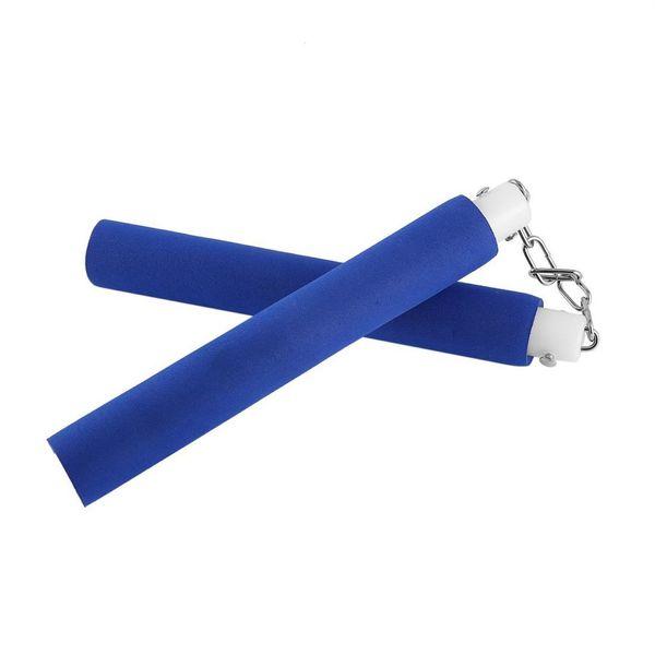 Formazione di schiuma sicura Nunchucks Kung Fu Nunchakus con catena girevole in metallo per arti marziali Pratica colore blu 30 pezzi