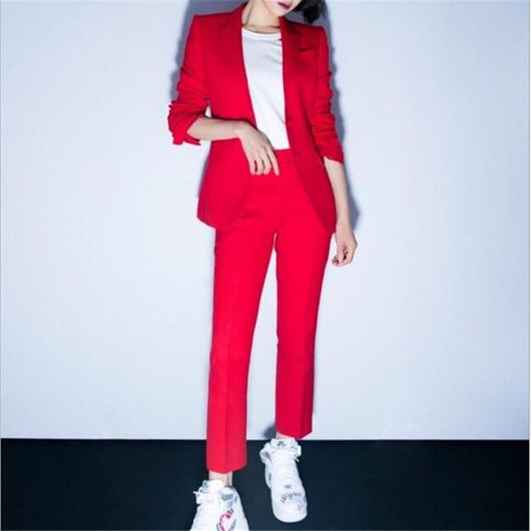 Custom fashion nuove donne casual rosso vestito tuta a due pezzi (giacca + pantaloni) ufficio affari femminile formale