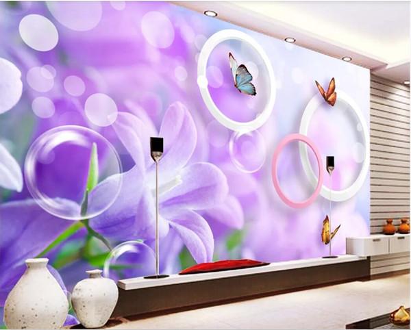 3d обои на заказ фотообои HD большие фиолетовые цветы 3D телевизор фоне стены росписи на стене home decor wall art pictures
