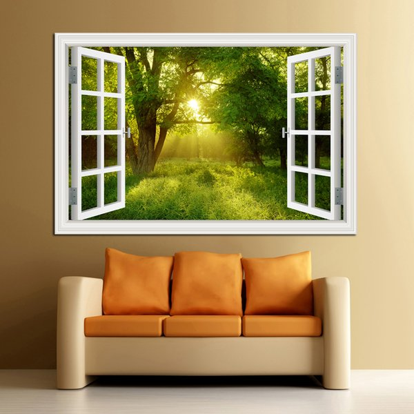 3D Window View Forest Landscape in Four Seasons 3D Wall Sticker Green Golden Tree Removable Wallpaper Home Decal Home Decor