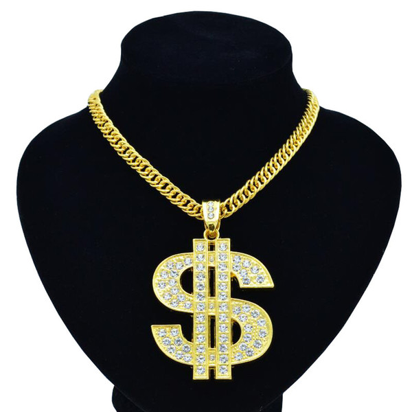 New hip-hop night club exaggerates golden chain US dollar symbol golden necklace fashion personality pendant for men and women 1pcs