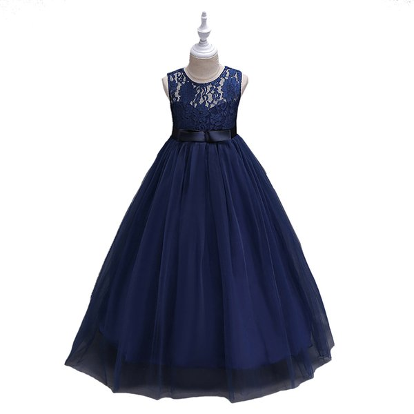 Mignon O-cou fleur filles robes bleu marine Tulle avec nœud A-ligne Enfants Pageant Robes de fête d'anniversaire Robes de mariée Pour Fleur Filles