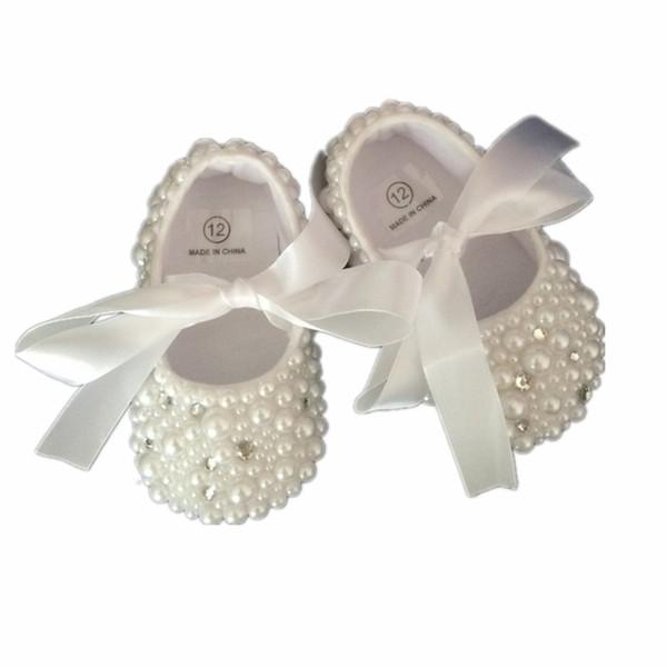 Dollbling baptême perles strass cristal clair bébé chaussures acheteur personnalisé ruban blanc Match magique souvenir de l'enfance Y19051504