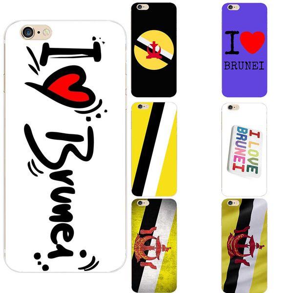 Brunei National Flag I Love Brunei Heart Theme TPU Phone Cases For iPhone 6/6s/7/7s/8s/X Custom Design