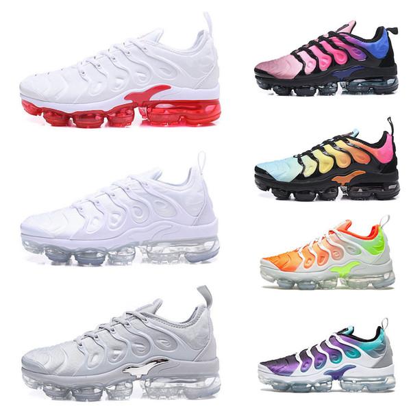 TN Artı Erkekler kadınlar Tasarımcı Ayakkabı üçlü siyah beyaz günbatımı kurt gri Zeytin Metalik Gümüş açık havada rahat spor ayakkabıları mens üzüm