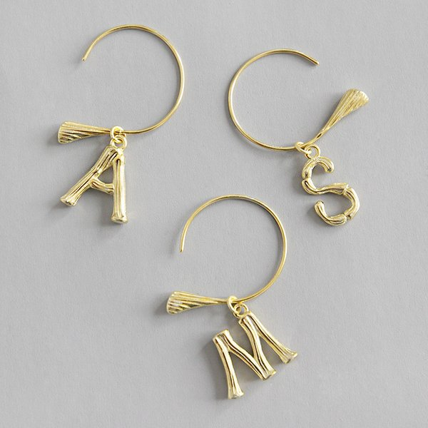 100% 925 Sterling Silver English Alphabet Letters Drop Earrings For Women 18K Gold Color Female A S M Dangle Earring 1PC Sold