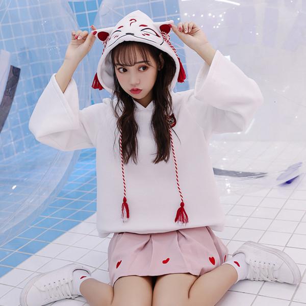 Japanese Retro 3D Fox Ear Embroidery Hoodie Cartoon Anime Girls Kawaii Hooded Pullover Hoodies Sweatshirt Harajuku Coat SH190911