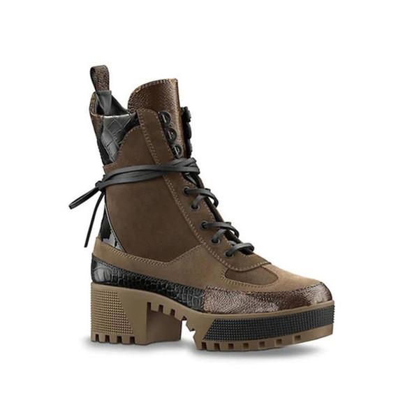 Laureate Platformu Çöl Boot Womens En Kaliteli Lüks Tasarımcı Ayakkabı Ayak Bileği Çizmeler Kadın Moda Çizme Kadın Martin Çizmeler Ile Orijinal Logo