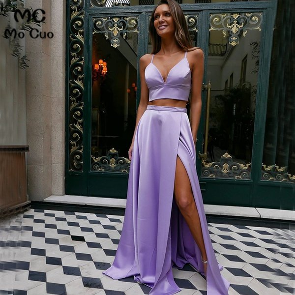 2019 Deux Pièces Robe De Soirée Robe Bretelles Col En V Dos Nu Avant Fente Robe De Soirée Des Femmes Robe De Bal Custom Made