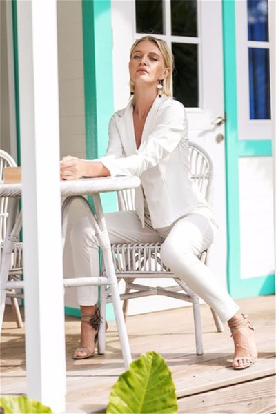 Sexy White Women's Pants Suits Minimalist Club Party Suits Office Lady Suits Custom Made 2 Piece Jacket/Pants