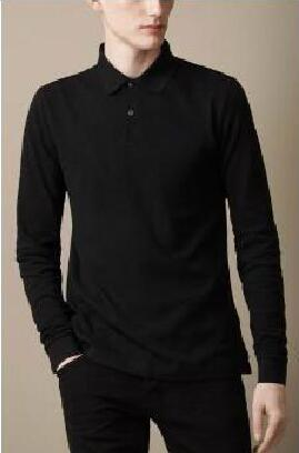 Famous Spring Men London Brit Casual Shirts Long Sleeve Solid Shirt Cotton Business Polo Tees White Black Blue Brown 1123
