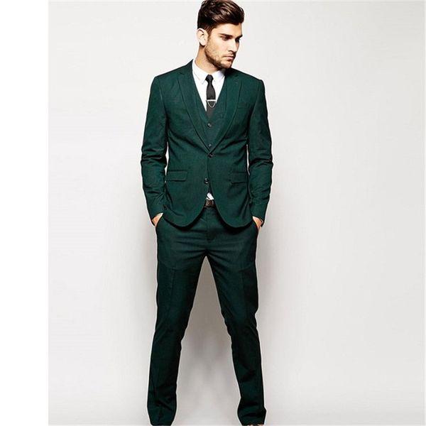 Personalizado o mais recente terno verde dos homens casuais slim fit três, casamento dos homens melhor homem vestido de dança melhor (casaco + calça + colete)