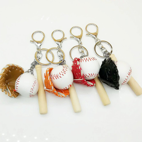 Free DHL 4 Styles Mini Baseball Bat Glove Set Faux Leather Keychain Keyring Handbag Pendant Women Men Keychains Fashion Keyfob Gift G633Q F