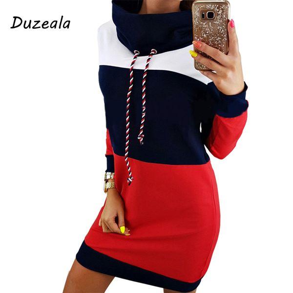 Duzeala donne inverno dolcevita manica lunga con cappuccio plus size 2018 autunno a righe colorate con cappuccio vestito felpa dress Q190423