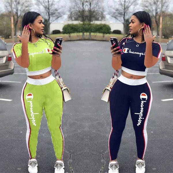 Champion Frauen Trainingsanzug Emboridery Letters Sommer Kurzes T-Shirt Crop Top + Hosen 2 Stück Casual Set Sport Anzug Jogger Outfit S-2xl C3202
