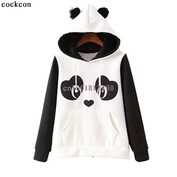 Kadın Panda Polar Kazak Hoodie Tişörtü Jumper Kapşonlu Coat Tops