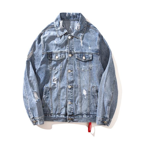Men's Jackets Hip Hop Original Trends Foreign Trade Denim Clothes Loose Hole Jacket High Street Wind Clothes