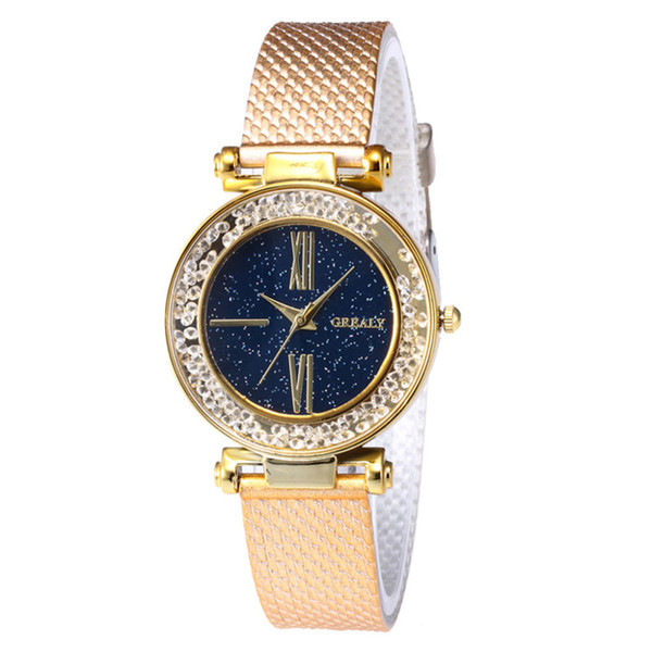 Grealy Fashion And Simple Features Women's Watches Rhinestone Dial Plastic Band Quartz Wrist Ladies Watches Reloj mujer New B50