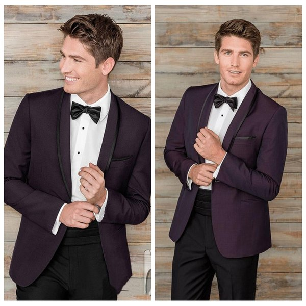 2020 Elegant Tailor Made Men Tuxedos For Wedding Slim Fit One Button Groomsmen Suit Two Pieces Handsome Business Prom Wear(Jacket+Pants+Bow)