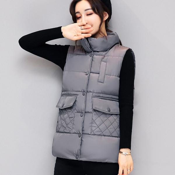 2017 Nuovo Autunno Inverno Gilet Cappotto Donna Gilet donna Colete Feminino Casual Gilet donna senza maniche in cotone giacca