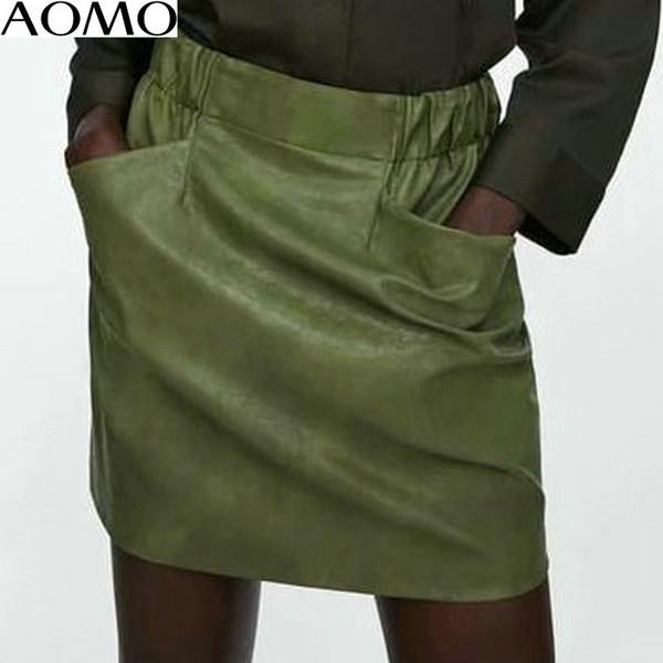 AOMO mulheres saia de couro bolso 2018 outono verde mini saia sexy retro senhoras lápis cintura alta estilo coreano HY149