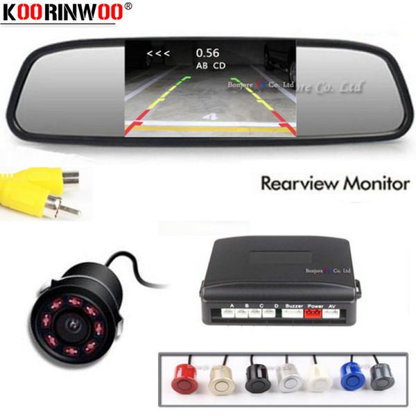 Koorinwoo Parktronic LCD-Autoüberwachungsspiegel Parksensoren Summer 4 Sonden 22 mm Rückfahrkamera Entfernung anzeigen sichtbar