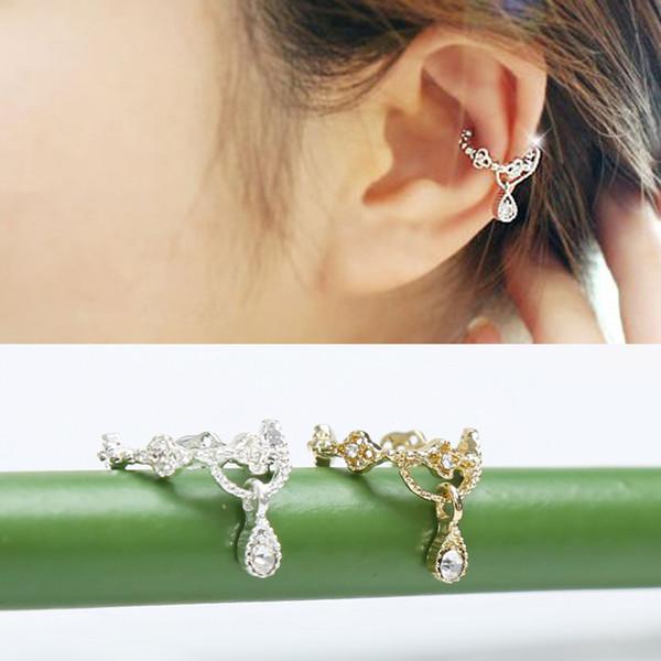Tempérament Femmes Élégantes Cystal Strass Motif Creux Oreille Clip De Mode Larmes Argent Couleur Clip Boucles D'oreilles