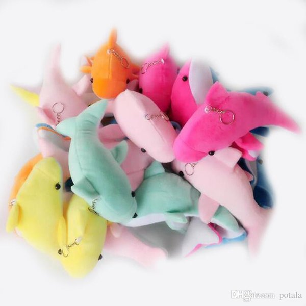 8CM New Lovely Mixed Color 3.2inch Mini Cute Dolphin Plush Toys Keychains Charms Kids Plush Toys Home Party Pendant Gift Decor Key Chains