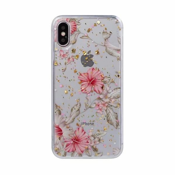Custodia in TPU paillettes per Iphone XS MAX X XR 8 7 Galaxy S10 S10e S9 Nota 9 8 Fioretto in foglia di frutta Fiocco di coriandoli