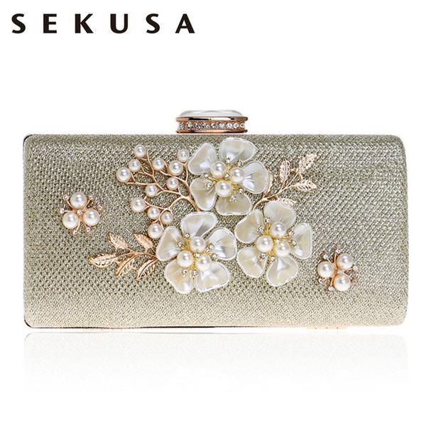 Sekusa shell flor mulheres saco de noite de lantejoulas diamantes pequenos festa de casamento bolsas para feminino bolsa de embreagem sacos Q190429