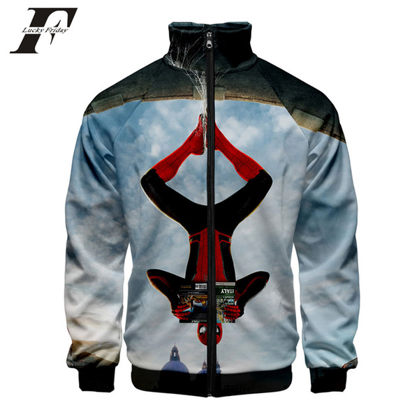 Spider Man 3D Print Stand Collar Zipper Jacket Women/Men Kpop Long Sleeve Jacket 2019 Arrival Casual Clothes New