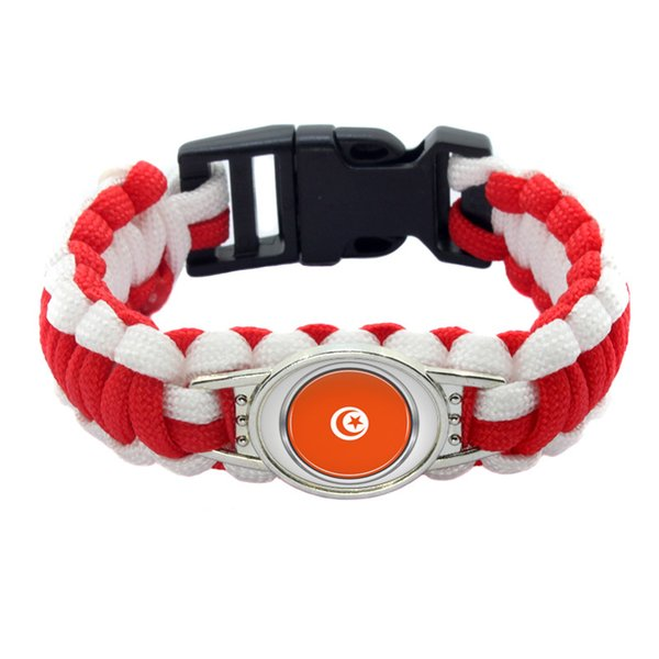 30#Fashion Tunisia National Flag Survival Paracord bangle bracelet for football fans gifts