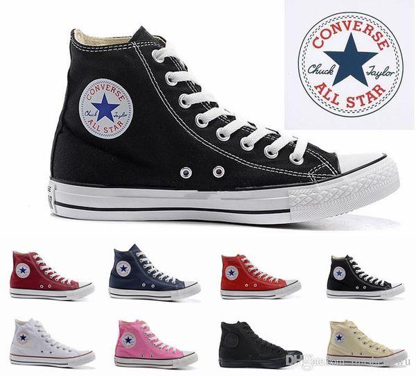 2019 size35-45 Novo Unisex Low-Top High-Top das Mulheres Adulto sapatos de Lona da estrela dos homens 13 cores Laced Up Sapatos Casuais Sapatilha sapatos de varejo
