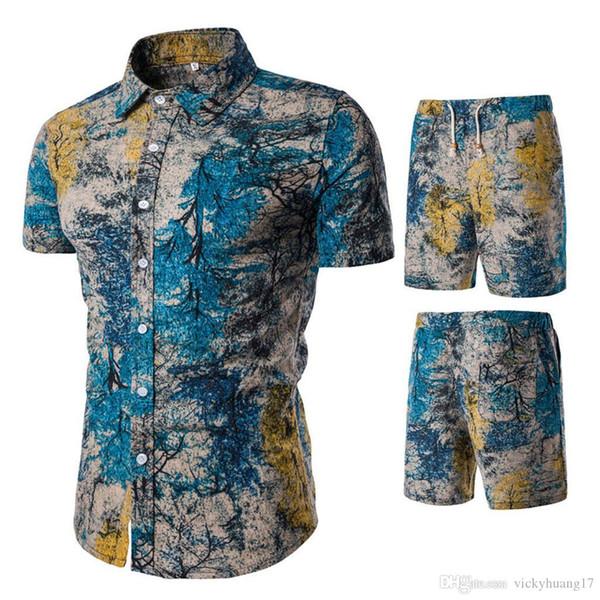 Мужской костюм мода 2019 мужская одежда набор гавайская рубашка лето slim fit плюс размер M-5XL мужская рубашка + шорты d90522