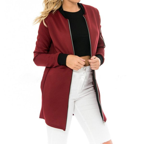 Autumn High Quality Fashion Ladies Long Jackets Stand Collar Solid Brief Cardigan Jackets Coat Women Thin Slim Outwear