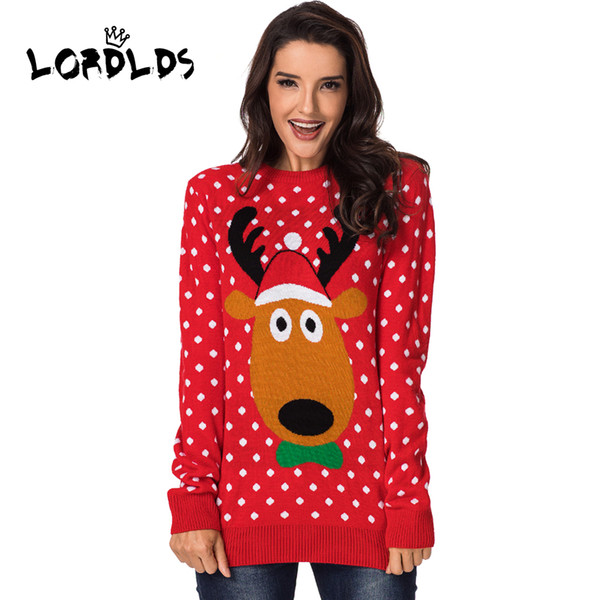 Christmas Sweater Women.2018 Lordlds Reindeer Christmas Sweater Women O Neck Red Sweaters Long Sleeve Red Knitted Winter Pullover Womens Jumper Sweater 2018 From Maydaysale