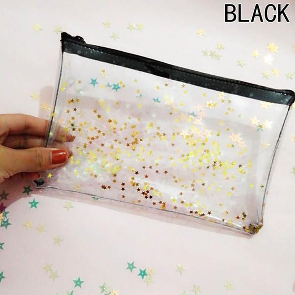 2017 New Cute Transparent Glitter Stars Silica Gel PVC Plastic Water Proof Pencil Bag Pencil Case Cosmetic Bag School Supply
