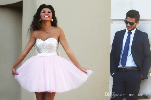 Sweet Short Homecoming Dresses Sequins Top Tulle Skirt A line with Big Bow Short Party Gowns Custom made