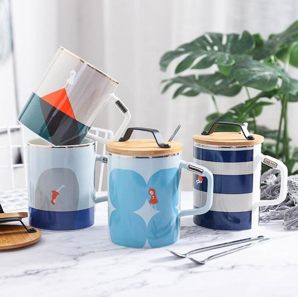 Coffee cup ceramic mug creative wood cover portable cup fashion navy wind with cover spoon ceramic cup with handle mug