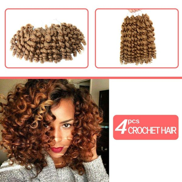 "Hot ! 8"" 4 Pcs Full Head Short Wand Curl Spiral Jumpy Bouncy Crochet Hair Afro Small Curls African Hair Extensions for Black Women"