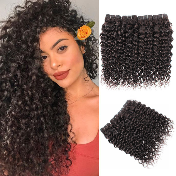Brazilian Water Wave Curly Hair Bundles 3 or 4 Bundles Natural Color 100% Remy Human Hair Extensions 10-28 Inch