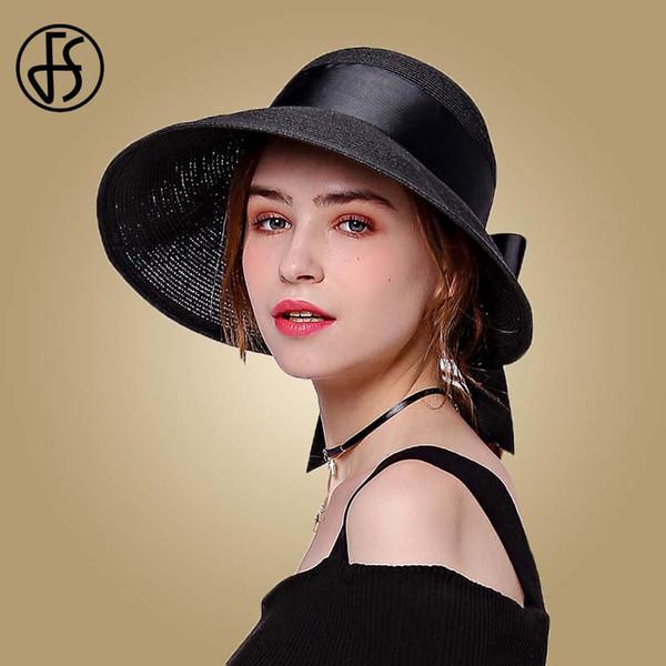 FS 2019 Соломенная шляпка для женщин моды Широкий Брим Sun Visor Бич УФ Caps Розовый Черный Коричневый Складные шляпах с Bowknot Summer Cap