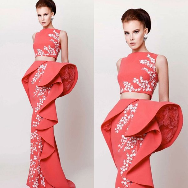 Azzi & Osta Classic Prom Dresses Bateau Neck Appliques Beaded Two Pieces Evening Dresses Ruffles Upscale Designer Dress Women Formal Wear