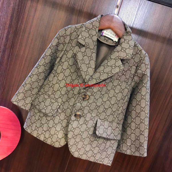 newBoy suit jacket kids designer clothing autumn large lapel long sleeve coat overlay letter pattern design coat