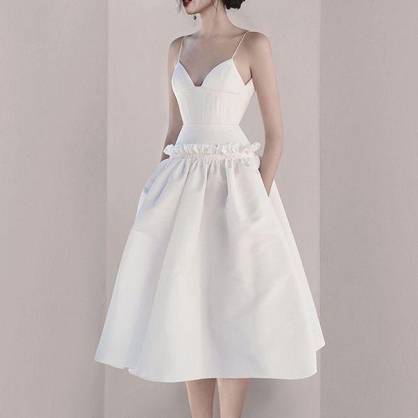 V Neck Sexy Ruffles Women Dress Dress Sling High Backless Shoulder Backless Female Summer Elegant 2019 Fashion