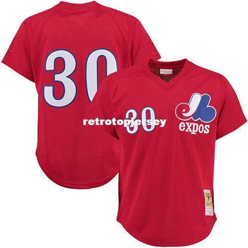 Cheap Mitchell Ness Montreal # 30 1989 Tim Raines Vermelho Batting Prática Jersey Throwbacks costuradas jerseys de beisebol Dos Homens