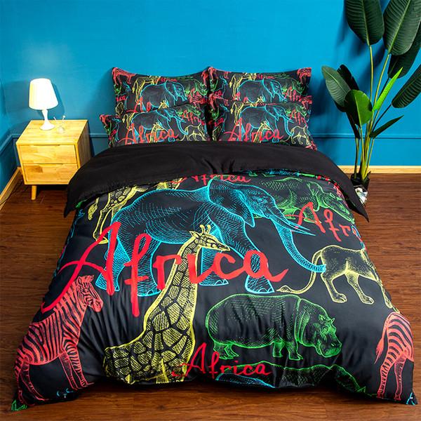Free shipping Holiday Gift African Animals Elephant Zebra Giraffe Rhino Print Bedding Duvet Cover set pillowcase Twin full Queen King size