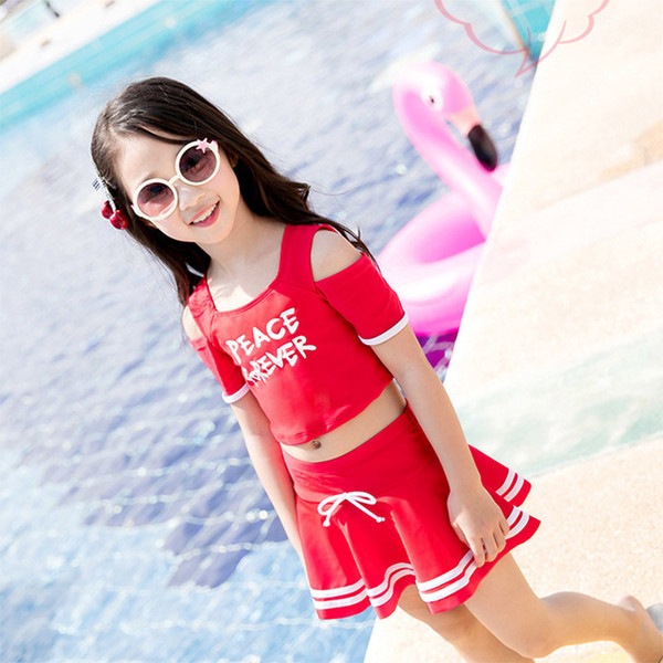 2019 New Girls Swimsuit Clothes Sets Summer Girls Fashion Cotton Letter T-shirts+tutu Dress 2pcs For Girls Summer Beach Swimming Costume
